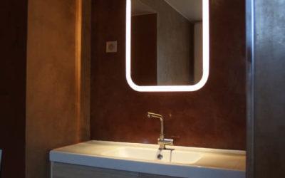 Salle de bain en Béton ciré couleur café