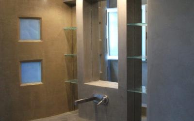 Salle de bain en Béton ciré, gris flanelle et Moka