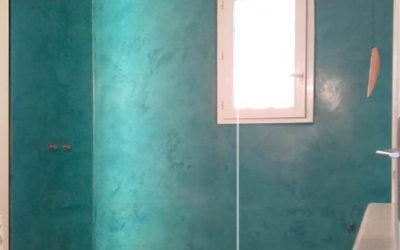 Douche Béton Ciré turquoise